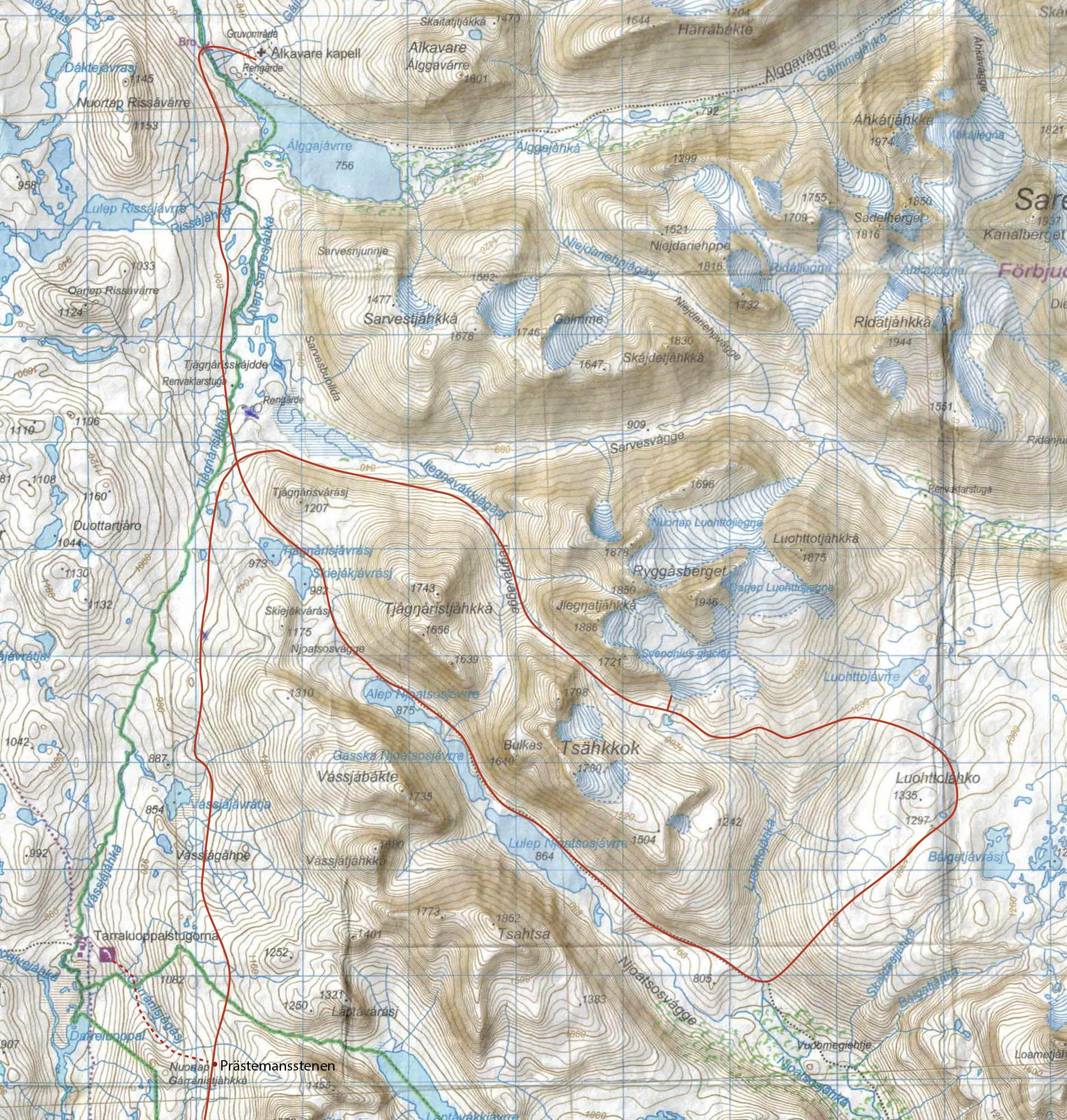 20-06-29, karta över Präststigen och Sarek.jpg