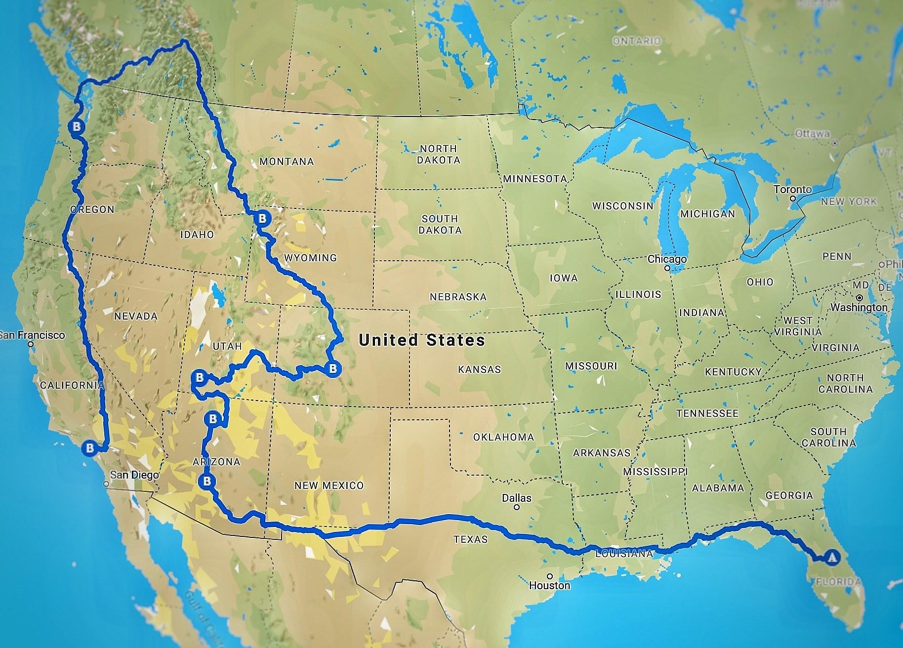 Karta Usa Sjoar.Cyklar 1300 Mil Genom Usa Utsidan