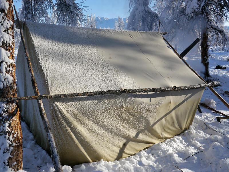 Tält med kamin