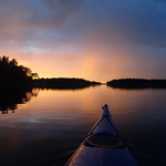 Vindstilla och solnedgång
